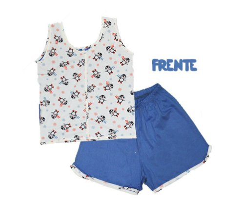 Short Doll Infantil Malha Regata Pinguim Azul