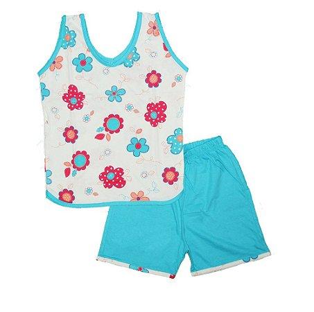 Short Doll Infantil Malha Regata Florido Rosas Vermelha & Azul