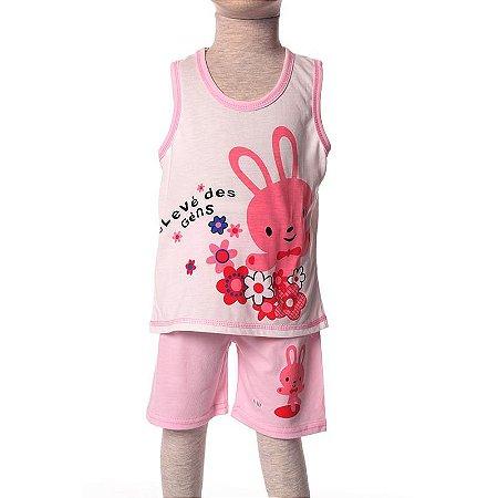 Short Doll Infantil Regata Malha Coelhinha Rosa