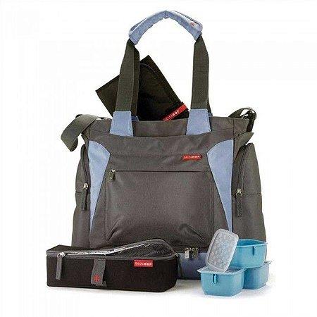 Bolsa Maternidade Skip Hop - Coleção Bento Tote - Cor Grey Blue (acompanha bolsa térmica com 3 potes)
