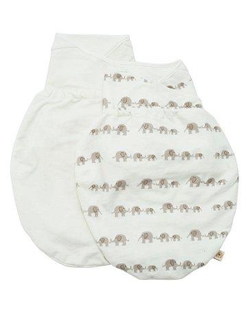 Swaddler - Cueiro Inteligente Ergobaby - Embalagem com 2 unidades nas cores: Elephant e Natural (M/G)