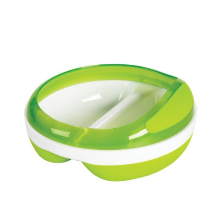 Prato com divisorias verde - OXOTot  - (2 x 75 ml) - Base anti derrapante e tampa