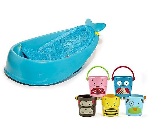 Banheira SKIPHOP Moby Bath Tub + Pilha de Baldinhos - O banho do seu bebe com divertimento !!!