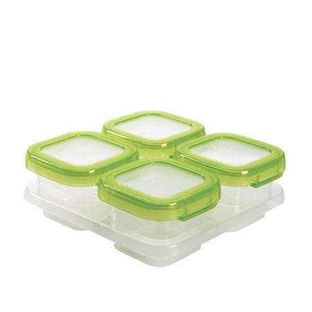 Bandeja com 4 potes de armazenamento com tampa OXOTot verde (4 x 120ml) - SUPER PRATICA !!! Permite freezer e microondas !!