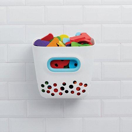 Porta Brinquedos de Banho OXOTot Branco e Azul - Organiza e mantem secos os brinquedos de banho.