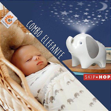 COMBO Dorme Filhinho ♪♫ - Abajur do Elefante SKIPHOP + Swaddler Ergobaby do Elefante/Natural Pequeno e Medio