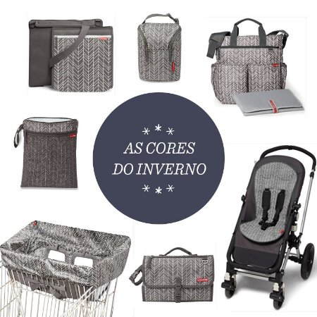 Super Combo Grey Feather - Cores do Inverno - Duo Signature + Wet Dry + Double Bottle + Cool Touch Stroller + Central Park + Cart Cover + Trocador