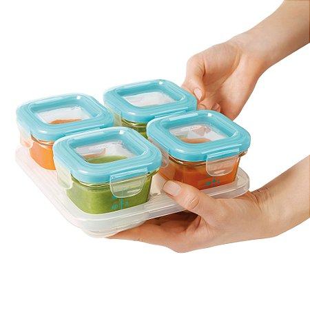 Bandeja com 4 potes de vidro de armazenamento com tampa OXOTot Azul (4 x 120ml)