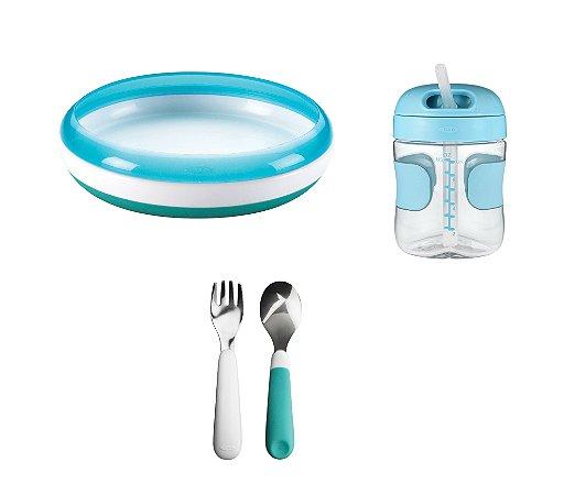 COMBO ESPECIAL Começando a Comer Sozinho - Prato Treinamento + Conjunto de Garfo e Colher  + Copo com Canudo Azul