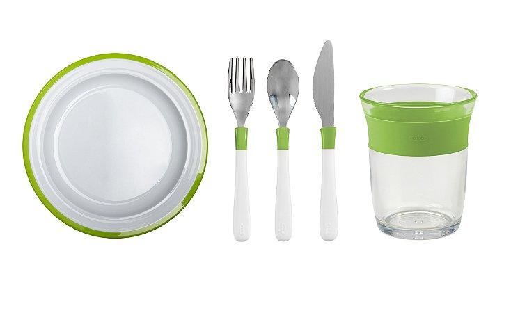 COMBO OXO: Comendo como os Adultos - Prato + Talheres + Copo Linha Big Kids Verde