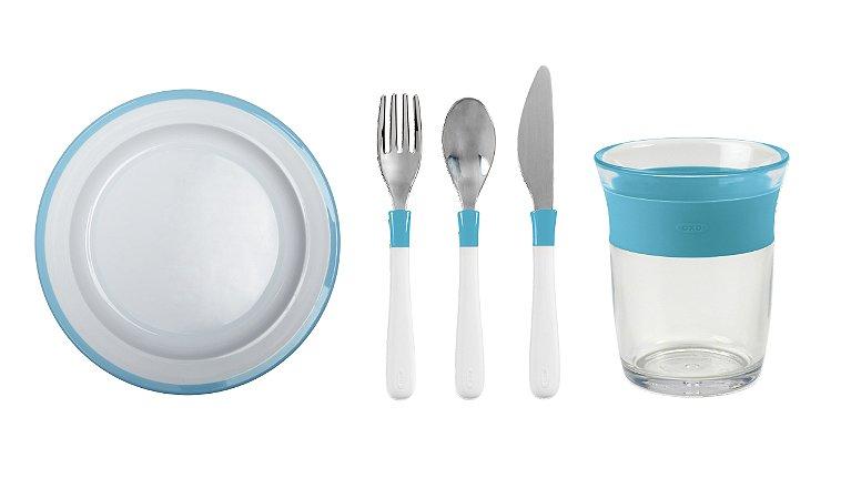 COMBO OXO: Comendo como os Adultos - Prato + Talheres + Copo Linha Big Kids Azul