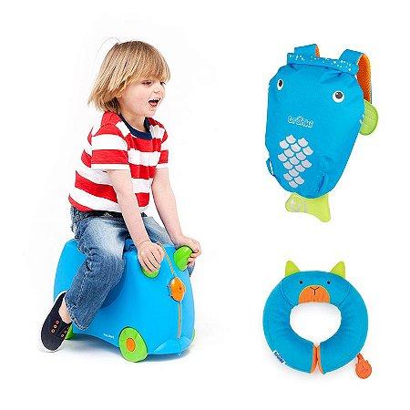 COMBO TRUNKI: Mochila PaddlePak Tang + Mala Infantil Terrance + Almofada Yondi Bert