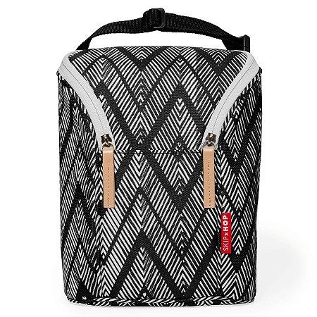 Bolsa Térmica Double Bottle Skip Hop - Linha On-The-Go - Para duas mamadeiras - Cor Zig Zag Zebra