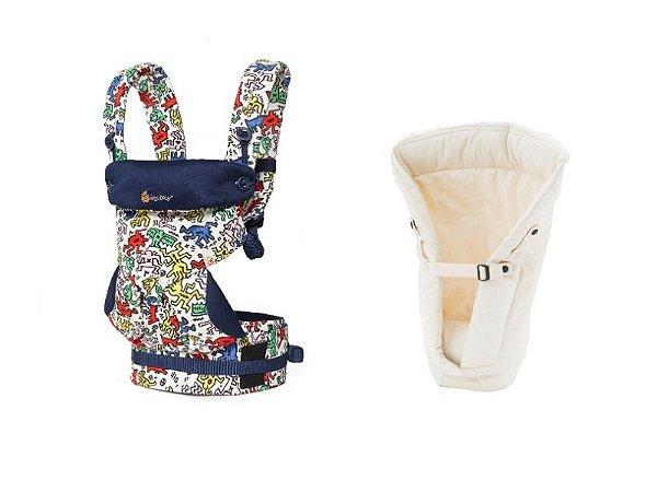 Canguru Ergobaby - Coleção 360 - Edição Especial Keith Haring Pop + Infant Insert Natural