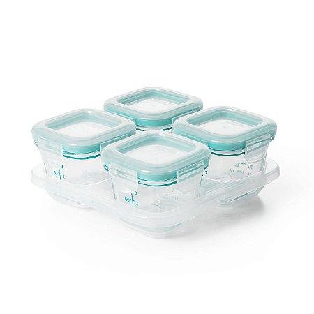 Bandeja com 4 potes de vidro ( borosilicato) de armazenamento com tampa OXOTot Verde Azulado  (4 x 120ml)
