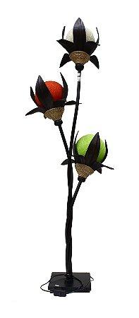 Luminária Fibra 3 Flores 140cm