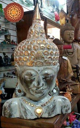 Busto Buda Madeira Branco
