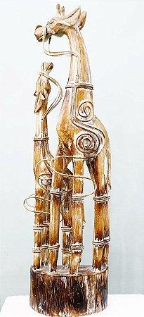 Girafa c/ Filhote em Bambu