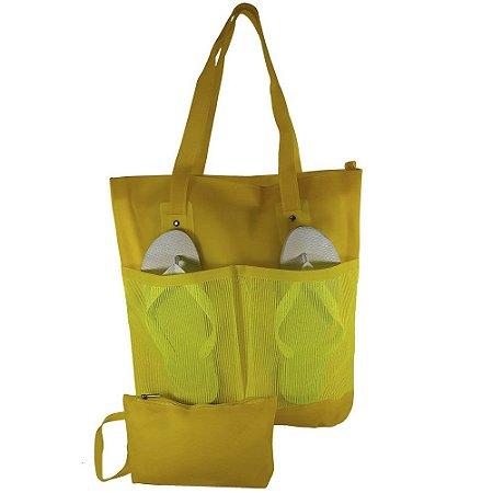 52d2adbf8 Bolsa Bag Dreams De Praia Impermeável Branca Com Bolsos Amarela ...