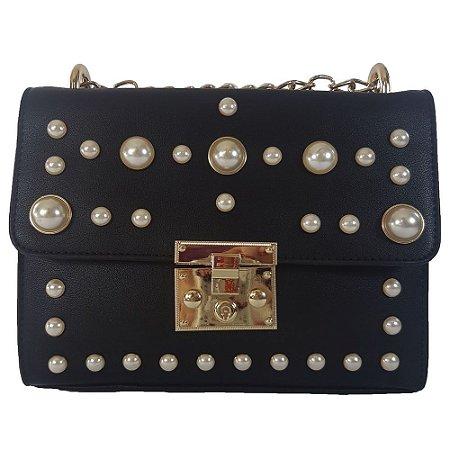Bolsa Bag Dream Com Pérolas Preta - Bolsas Femininas - Bag Dreams Store b7db44641f340