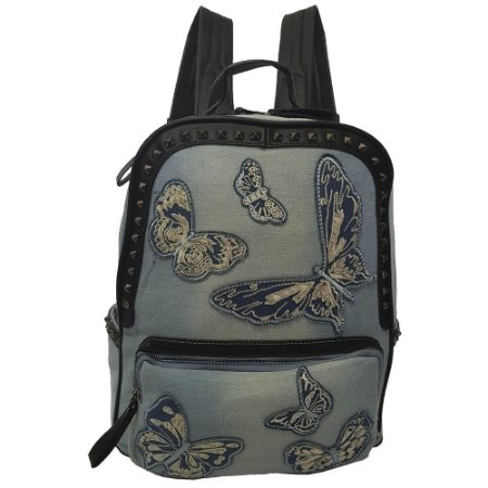 Mochila Bag Dreams Borboletas Jeans Clara - Bolsas Femininas - Bag ... 512470f5914