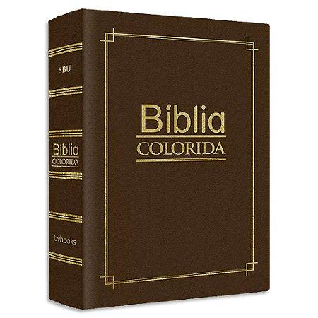 Bíblia Colorida Jovem Pequena Capa Luxo Marrom