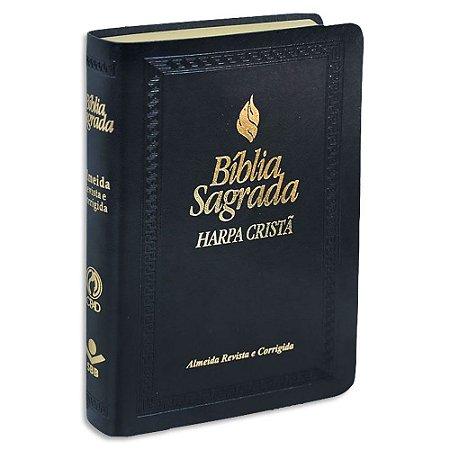 Bíblia com Harpa Letra Maior Couro Sintético Preta