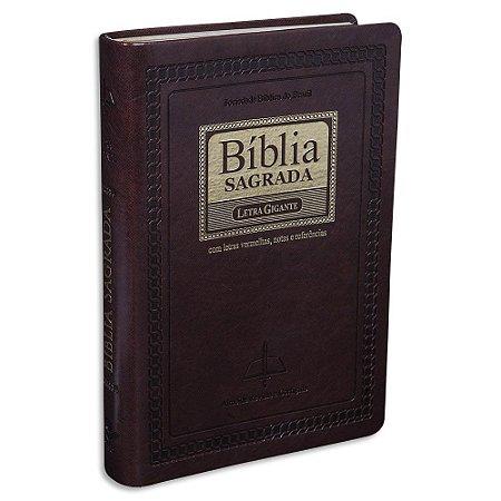 Bíblia Letra Gigante RC capa Marrom Nobre