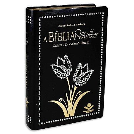 A Bíblia da Mulher capa Preta Tulipa Brilho