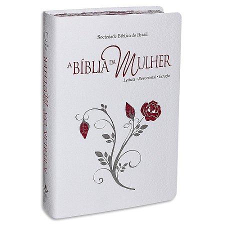 A Bíblia da Mulher capa Branca com Rosa Vermelha