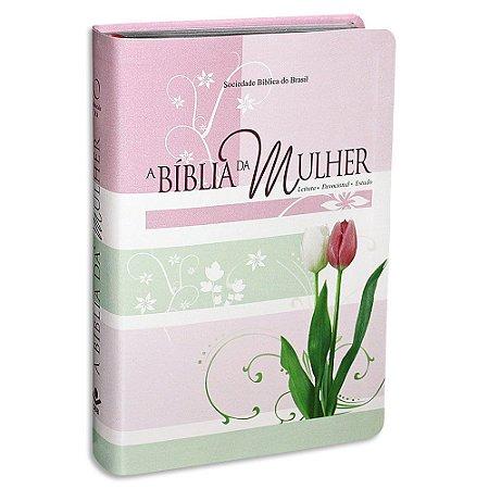 A Bíblia da Mulher RA Média Rosa Tulipa
