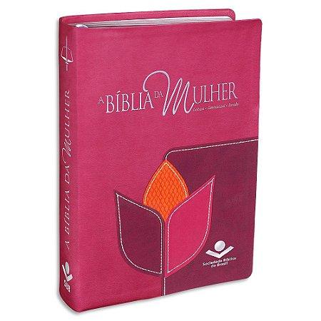 A Bíblia da Mulher RC capa Rosa e Vinho Grande