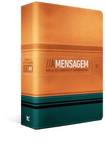 Bíblia A Mensagem capa Laranja e Verde com índice Luxo