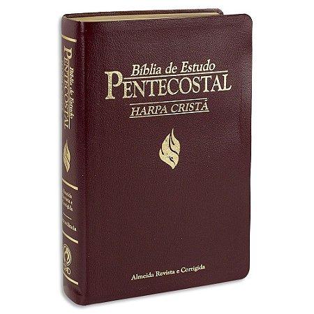 Bíblia de Estudo Pentecostal com Harpa capa Vinho