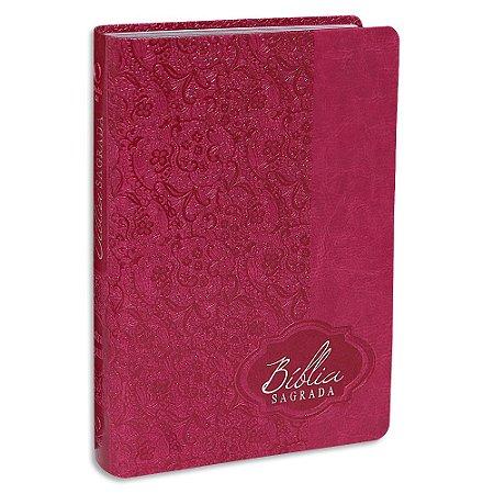 Bíblia Sagrada da Mulher RA Letra Gigante capa Pink luxo