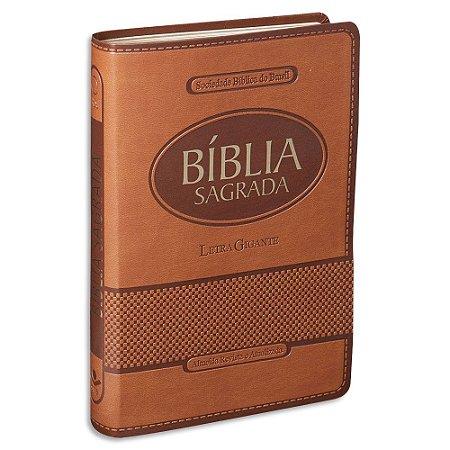 Bíblia Letra Gigante RA capa Marrom Claro