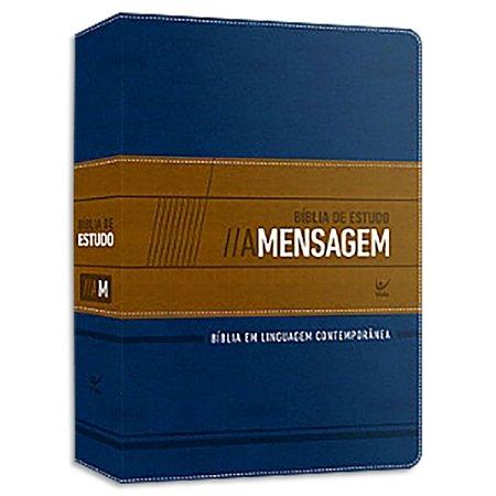 Bíblia de Estudo A Mensagem Azul e Bege