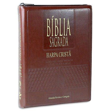 Bíblia com Harpa Letras Gigantes Marrom