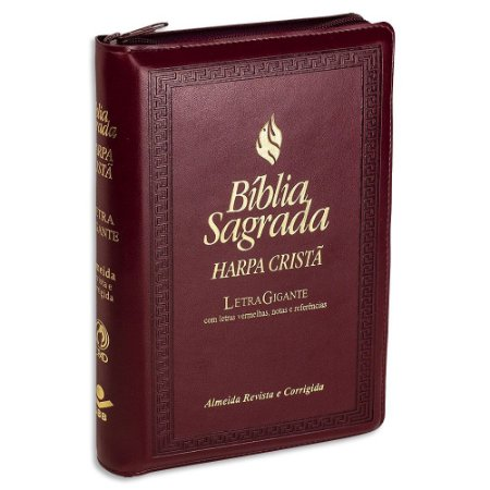 Bíblia com Harpa Letra Gigante RC Vinho com Índice e Zíper