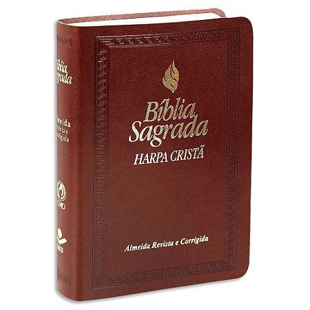Bíblia com Harpa RC Letra Maior e Fonte de Bençãos Marrom