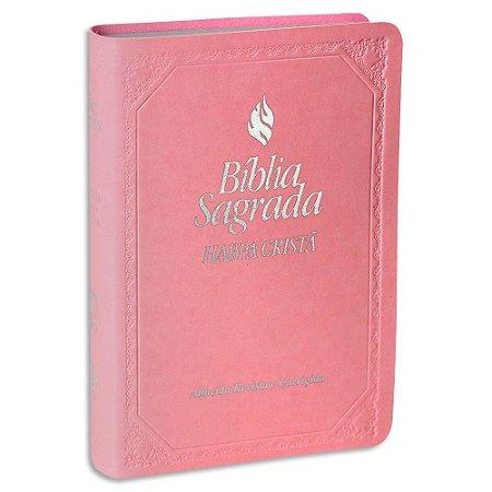 Bíblia Feminina com Harpa RC Rosa Claro e Fonte de Bençãos