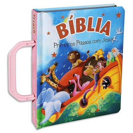 Bíblia Infantil Primeiros Passos com Jesus Rosa
