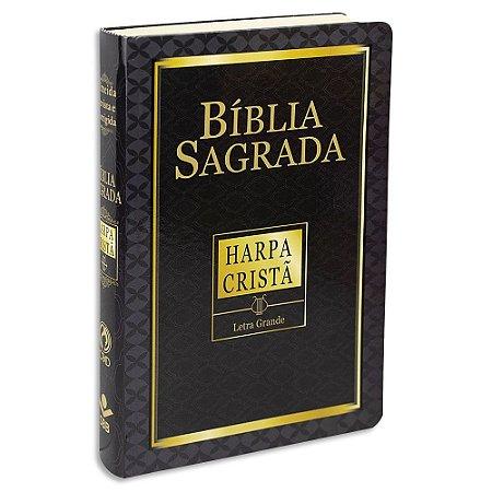 Bíblia Sagrada com Harpa Letra Grande Preta Econômica