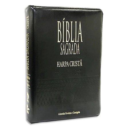 Bíblia com Harpa Letra Gigante RC com Índice capa Preta
