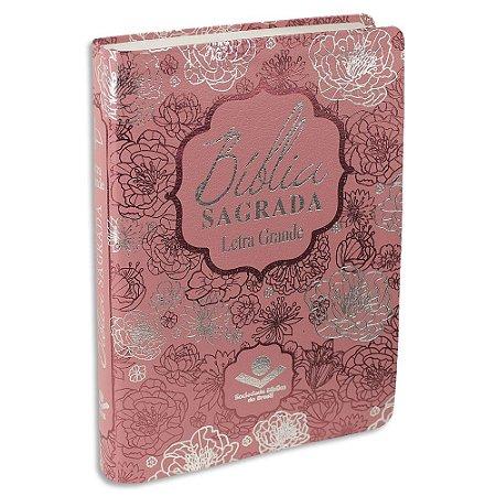 Bíblia Feminina Letra Grande capa Rosa Revista e Corrigida