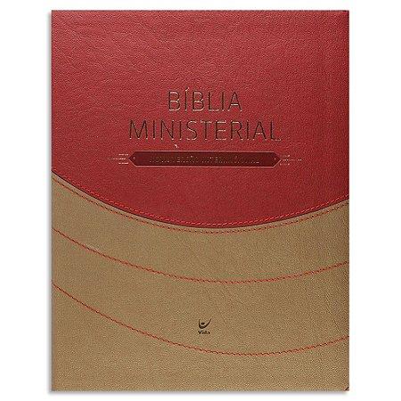 Bíblia Ministerial NVI capa marrom e vermelho