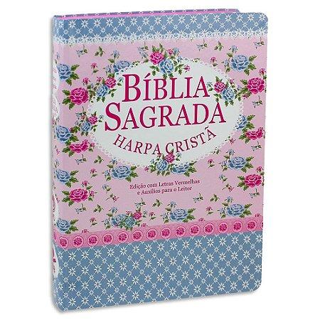 Bíblia com Harpa Letra Gigante Florida Rosa e Azul