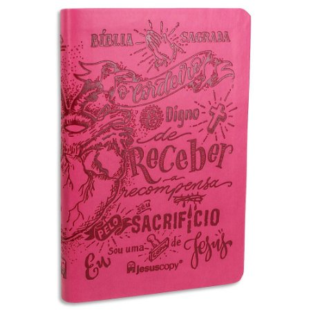 Bíblia Nova Almeida Atualizada Lettering Rosa