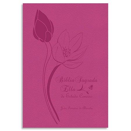 Bíblia Sagrada Ella de Estudo Conciso JFA Rosa Luxo