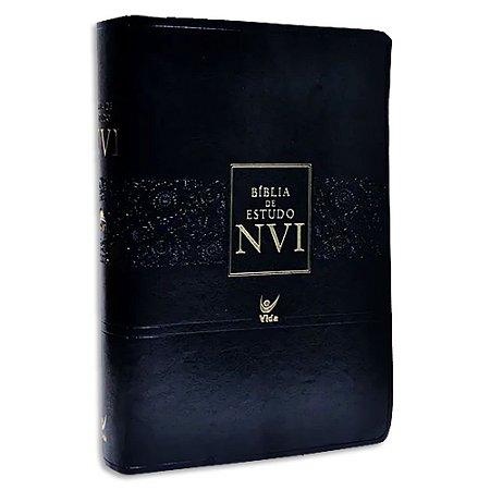 Bíblia de Estudo NVI capa Preta Flexível